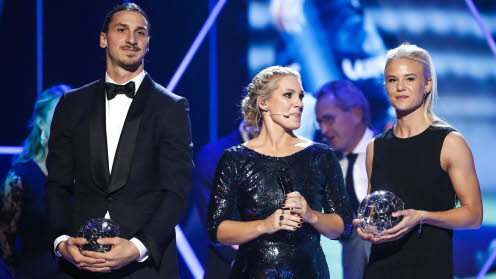 Zlatan Ibrahimovic och Pernille Harder, årets forwards 2016.