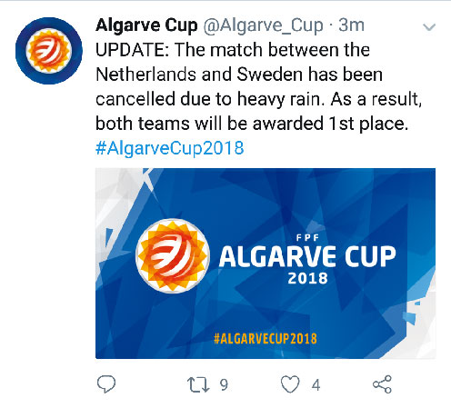 Tweet Algarve Cup